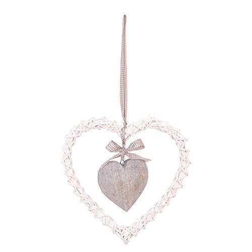 Clayre & Eef Deko Kranz Herz zum Hängen mit Herz grau/weiß 30x30x3cm