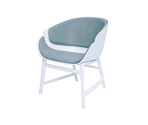 Meubletmoi Fauteuil Blanc Tissu Gris bleuté - Assise Large Confortable - Structure polypropylène - Design Contemporain - Yang