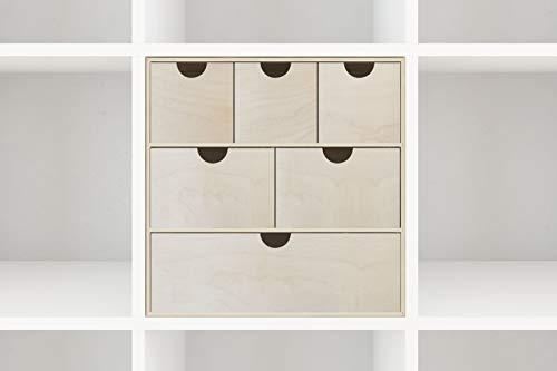 New Swedish Design Schubladenkommode IKEA Kallax Regal Mini-Kommode Aufbewahrungskasten zum Sortieren und Ordnen von Bastelutensilien Nähzeug Spielzeug Schmuck Nagellack 33,5 x 33,5 x 25 cm -