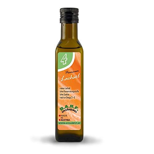 4yourpet Lachsöl, Fischöl mit Omega 3 zum Barfen, in Premiumqualität, Barf Ergänzung für Hunde und Katzen, in Antikflasche mit Ölausgießer 250ml (Fisch öl Ergänzungen)