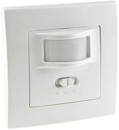 Bewegungsmelder 160° Unterputz Wand-Montage Schaltet ab 1Watt 9m Reichweite 230V 2-Draht Technik I Mit Tag / Nacht Erkennung I Ersetzt einen Lichtschalter I Weiß