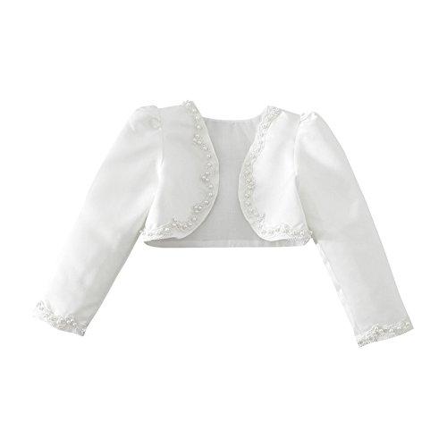 iEFiEL Bolero Kinder Mädchen Lange Ärmel Weiß Bolero Schulterjacke Bauchfreie Jacke Taufe Kommunion Hochzeit Festlich Weiß 134-140 (Herstellergröße: 150)