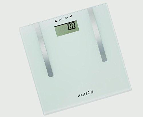 Hanson Graisse corporelle balance de salle de bain en verre Blanc 150 kg