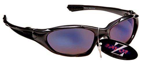 Rayzor professionnel léger UV400 Gun Metal Gris Sport Wrap Golf Lunettes de soleil, avec un bleu fumé antireflet des verres