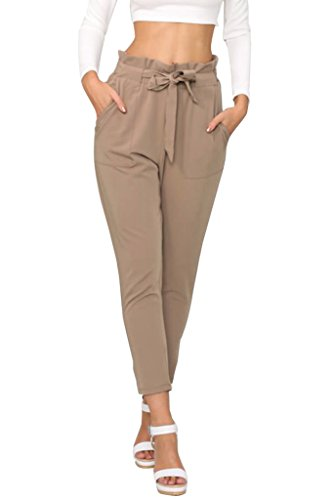 Simplee Apparel Damen Hosen Elegant High Waist Stretch Chiffon Skinny Hosen Pants Casual Streetwear Hosen Braun mit Tunnelzug