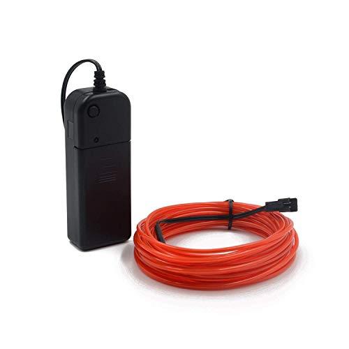 Tron Kostüm Licht - EL Draht Neonlicht Batteriebetriebene Draht Pack Treiber mit 3 Modi Multi Farben EL Draht Hohe Helligkeit Elektrolumineszenz für Xmas Party Dekoration Pub (16ft / 5m)(rot)