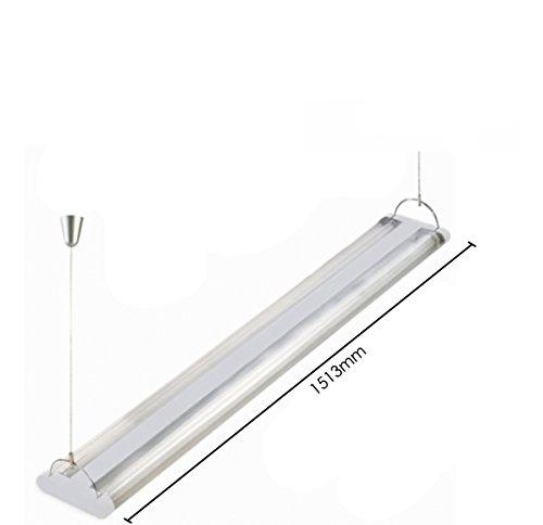 leuchte mit Kabel aus Stahl–Höhe verstellbar–4x 35W/T5–Neon inklusive–doppelt Lichtflut (direkte und indirekte) (Insel Lagerung)
