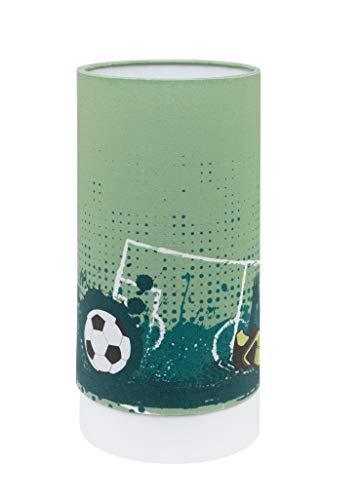 EGLO TABARA Kinderlampe, Tischlampe Motiv, Deko für Jungen und Mädchen, Leselampe für Kinderzimmer grün/Weiss, Fußball Nachtlicht, Stahl, 6 W