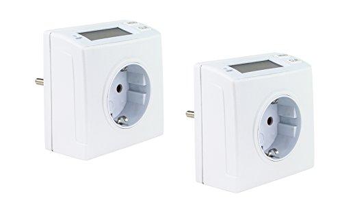 Proventa | Energiemessgerät kompakt | Stromverbrauchszähler | Energiemesser | Messgerät | Zwischenstecker | LCD Display | 230 Volt | 2 Stück = Doppelpack weiß