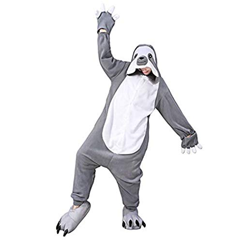 dressfan Faultier Onesie Animal Overall Faultier Schlafanzug Pyjamas Unisex Polar Fleece Performance-Kleidung Performance-fleece