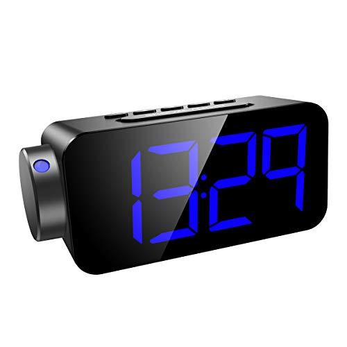 ORIA Projektionswecker, FM Radiowecker Uhrenradio mit Schlummerfunktion, Alarm und Timer