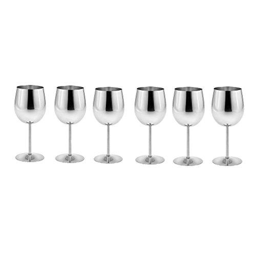 King International Edelstahl Wein Glas Champagner kelch Trinkbecher Tasse Set von 6Stück (Champagner-set Von 6)