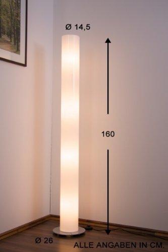 Moderne Stehlampe weiss transparent zeitlose Stehleuchte inklusive Leuchtmittel 23 Watt Höhe 160 cm