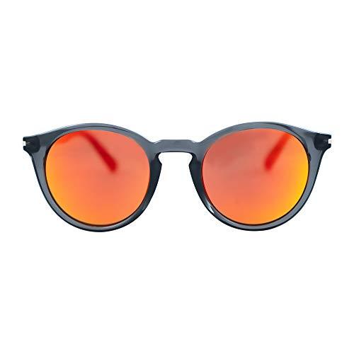 MessyWeekend Hobbes - Runde Moderne Dänische Designer Sonnenbrillen mit UV400 Schutz Transparent Grau Rot Revo