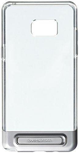 Galaxy Note 7Funda, VRS satén de diseño de [Crystal Bumper] [plata]–[transparente] [Militar protección] [función atril] para Samsung Note 7
