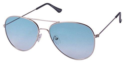 Glucksman UV Protection Aviator Unisex Sunglasses (GM1_SIL_AQUA_GRD 55 mm Blue lens)