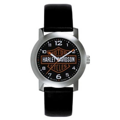 Harley Davidson Bulova Mens's Bar & Shield Logo Watch. Tried and true. Black dial. Stainless steel case. Black leather strap. 76A04