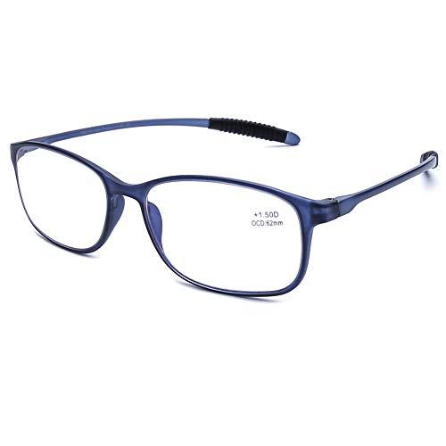 DOOViC Blaulichtfilter Computer Lesebrille Matt Blau/Eckig Flexible Bügel Brille mit Stärke für Damen/Herren 1,25 -