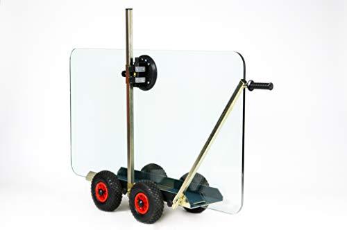 TS 250 Air Tandem Glastransportwagen mit Powr-Grip Vakuum Handsauger bis 250 kg Tragkraft,Transportwagen, Transporthilfe, für Glasscheiben, Holzplatten oder Steinplatten, Sackkarre, Plattenwagen