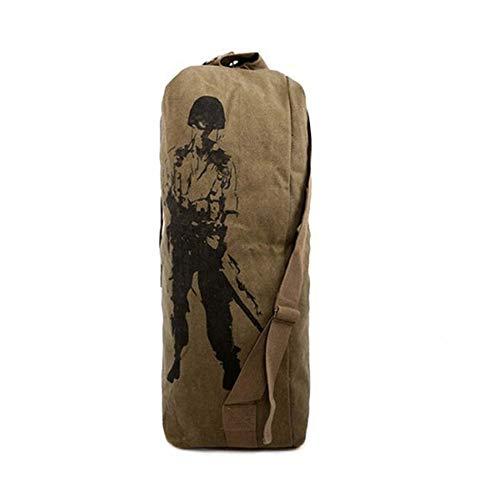 HGHGOutdoor Leinwand Military Rucksack Camping Wandern Rucksack Frauen Männer Tasche Eimer Kordelzug Reiserucksack Gelb 81 * 24 * 24C - Kordelzug-bestickte Umhängetasche