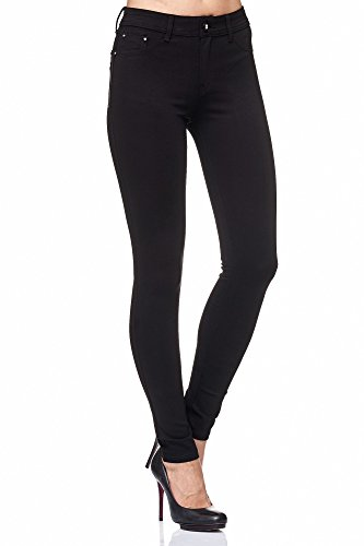 Elara Damen Stretch Hose Skinny Fit Jegging Chunkyrayan H01 Black 44 (2XL)