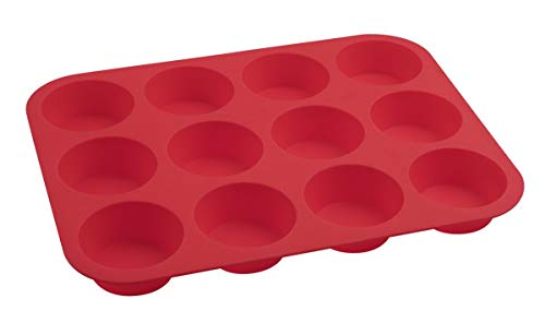 Dr. Oetker Muffinform 12er Cups 34 x 26 x 3 cm FLEXXIBLE Love, Silikonfrom für Muffins, Backform aus hochwertigem Platinsilikon, Form mit Antihaft-Eigenschaften (Farbe: Rot), Menge: 1 Stück
