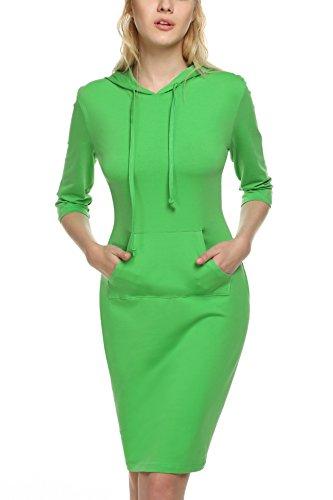 ANGVNS Damen Kleid mit Kapuzen Casual Hoodie Pullover Freizeitkleid Langshirt 3/4 Langarm Knielang Grün