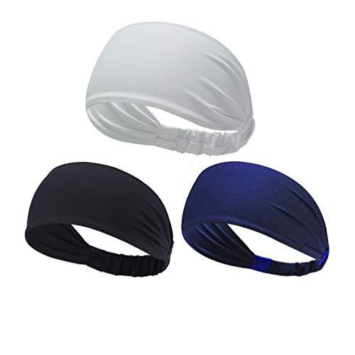 NUREINSS Stirnband 3PCS Non Slip Unisex Stretch Elastische Sport Schweißband Headbands Head Wrap für Yoga, Basketball, Running, Fußball, Tennis - Haarschmuck (Color8) -