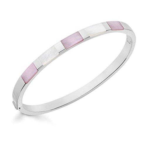 Tuscany Silver Sterling Silver Pink White Mother of Pearl Bangle
