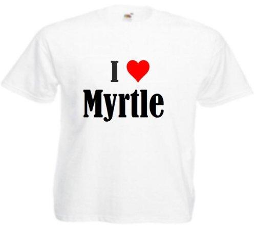 T-Shirt I Love Myrtle Größe 2XL Farbe Weiss Druck Schwarz