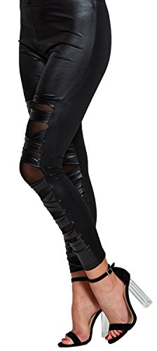 Chocolate Pickle Nouveau Femmes Ripped Ruché Engrener Croix Serré Skinny élastique Leggings Pantalons 36-42 Black Mesh Cross