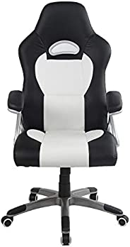 Racoor Video Gaming Chair, Black and White - H 116 cm x W 49 cm x D 49.5 cm