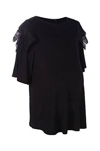 Noir Femmes Kayla T-shirt De Grossesse À Épaules En Dentelle Noir