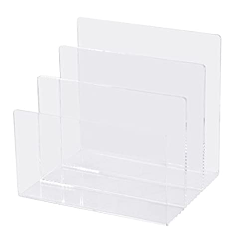 Clear Acrylic Desktop File Sorter,Makeup Palette Organizer, Electronics Organizer Holder, 3 Sections, 8