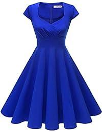 HomRain Donna Annata 1950 retrò Rockabilly Vestito cap Sleeves Audrey Swing  Abito da Cocktail Partito 0b8ef23e096