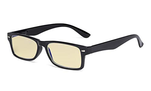Eyekepper Damen Blaulichtblockierung Brille mit gelber Filtergläser-Design Computer Brille Damen - Schwarz +1.75 -