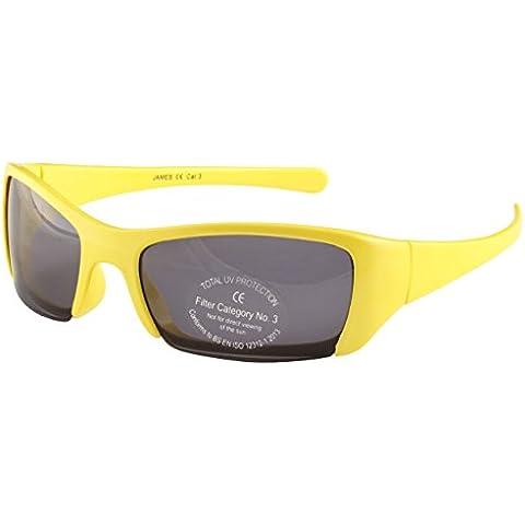 Bambini occhiali da sole avvolgenti in giallo e nero - Sport Style semi-rimless design - Style Occhiali Da Sole Avvolgenti