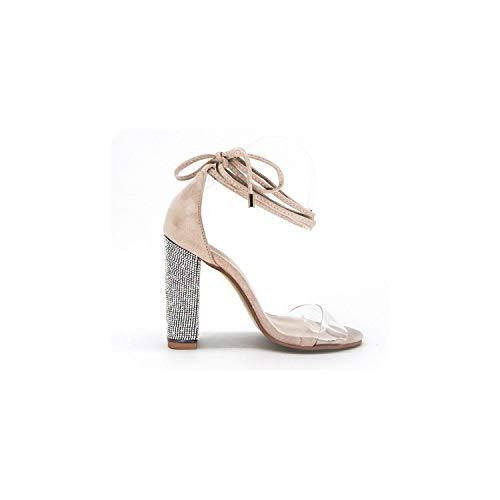 Frauen Absatzsandale Bandage Knöchelriemen Pumps Super High Heels 11 cm, Beige, 7 -