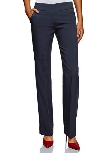 oodji Ultra Mujer Pantalones Clásicos con Pinzas, Azul, ES 40 / M