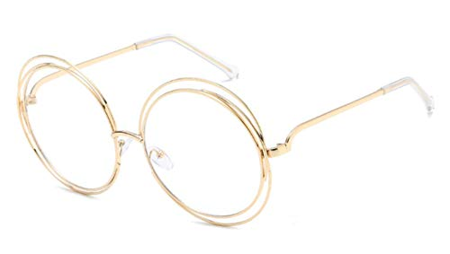 Daawqee Prämie Sonnenbrillen,Brillen,Vintage Round Big Size Oversized Lens Mirror Sunglasses Women Brand Designer Metal Frame Lady Sun Glasses Lady Cool Retro 15-Gold-Transparent