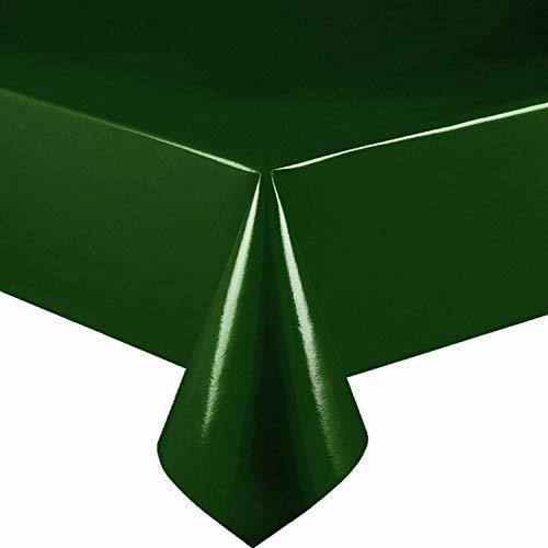 DecoHomeTextil Lacktischdecke Wachstuch Wachstischdecke Tischdecke Gartentischdecke Dunkelgrün Breite & Länge wählbar 140 x 350 cm Eckig abwaschbar Lebensmittelecht