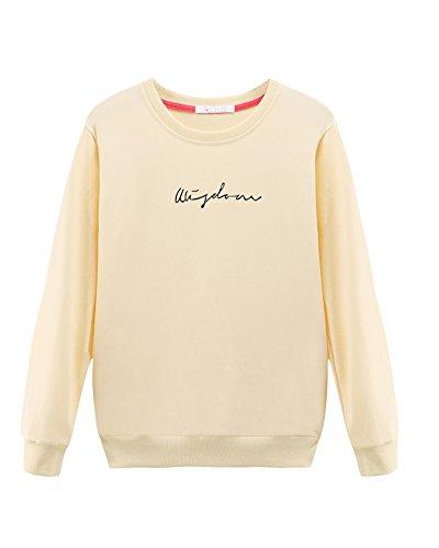Donna Manica Lunga Felpa Top Maglione Rotondo Collo Pullover Blusa Giallo