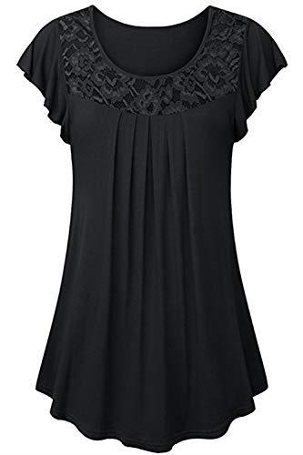 Ehpow Damen Sommer Kurzarm Rüschen Bluse T-Shirts Casual Floral Gedruckt Tunika Tops (Large, 1-Schwarz) (Bauch Für T-shirts Junioren)