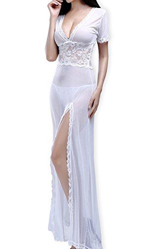Baby Dolls Dessous-Sets für Damen Lange Geschlitztes Kleid mit V-Ausschnitt Lace Nachtwäsche (Weiß) (Baby Kleid Doll Lace)