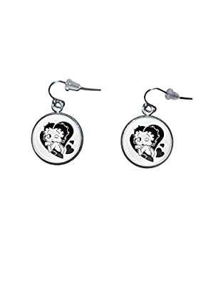 Boucles d'oreilles suspendues en acier inoxydable, diamètre 20 mm, fait à la main, illustration Betty Boop 2