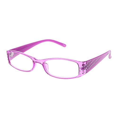 Xurgm Female Simple Fashion Reading Glasses Rectangular Frame Spring Hinges Rhinestone (+2.0, Lila)