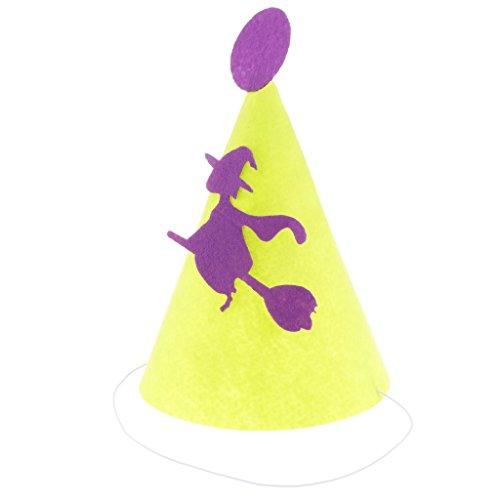 Halloween Kostüm Kegel - Unbekannt MagiDeal 6pcs Filzhut Cosplay Kostüm Hut Halloween Kegel Hut Partyhüte, mit Hexemuster Dekoration, für Kinder Zum Kinderparty und Karneval