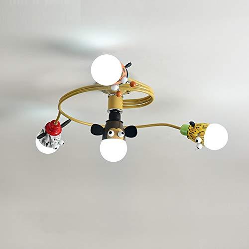 4h Antik (Kinderzimmer Schmiedeeisen Tierform Deckenleuchte, LED 4/6 Lichter Kreative Glas Lampenschirm Moderne Cartoon Kronleuchter Jungen Schlafzimmer Studie Leuchte-4H)