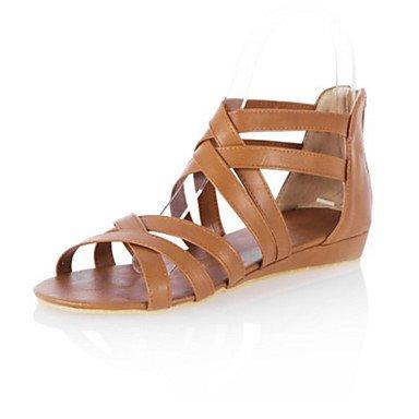 Sanmulyh Femmes Chaussures Pu Printemps Été Confort Nouveauté Plat Talon Sandales Open Toe Zipper Zipper Pour Robe Extérieure Marron Jaune Blanc Noir Brun