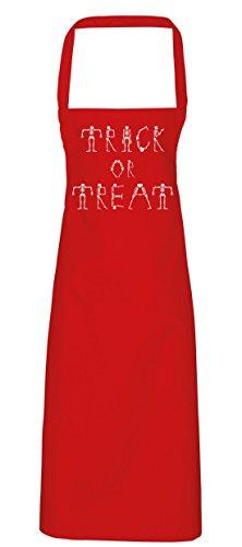 hippowarehouse Trick or Treat Skelett Schriftart Schürze Küche Kochen Malerei DIY Einheitsgröße Erwachsene, rot, (Skull Candy Kostüm Red)